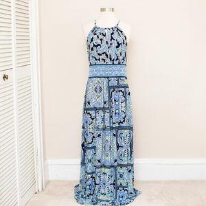 London Times Blue Paisley Maxi Dress 10